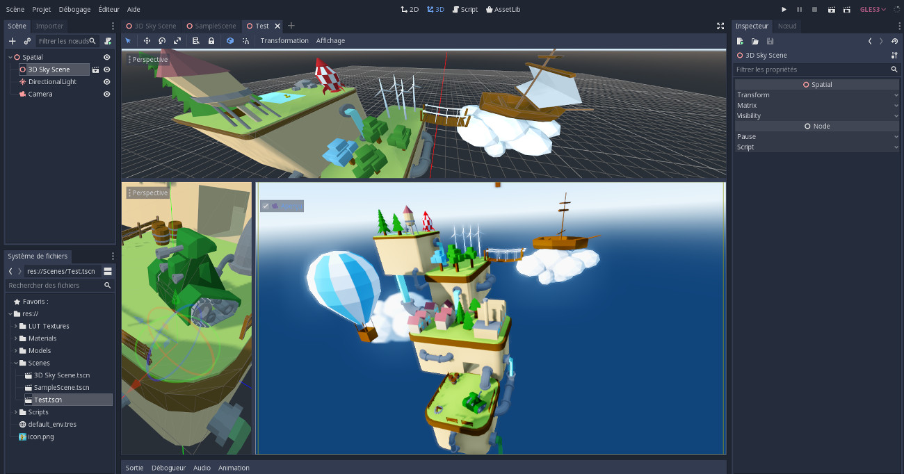 Editeur de Godot Game Engine avec le kit d'éléments lowpoly créé sous Blender d'Anthony Cardinale