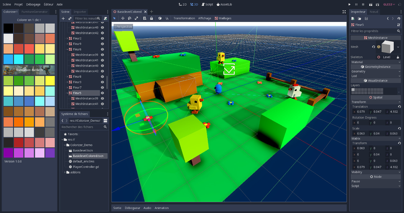 Editeur de Godot Game Engine avec un jeu test d'Anthony Cardinale