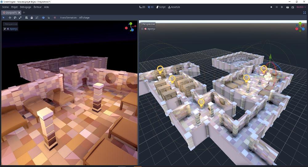Import dans Godot Game Engine du kit donjon créé sous Blender