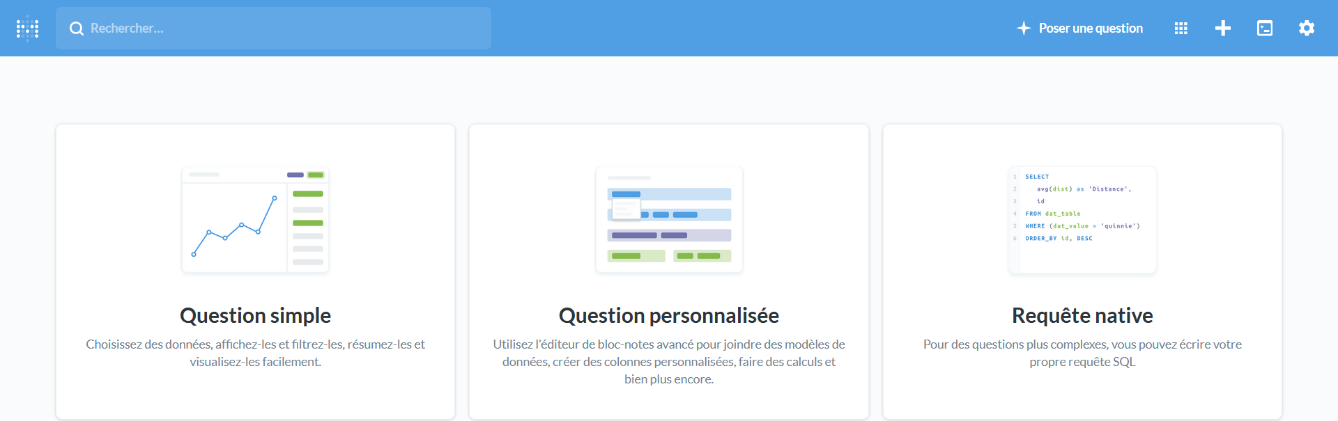 Interface Metabase - Poser une question